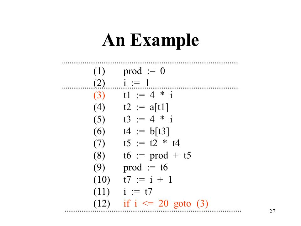 An Example (1) prod := 0 (2) i := 1 (3) t1 := 4 * i (4) t2 := a[t1]